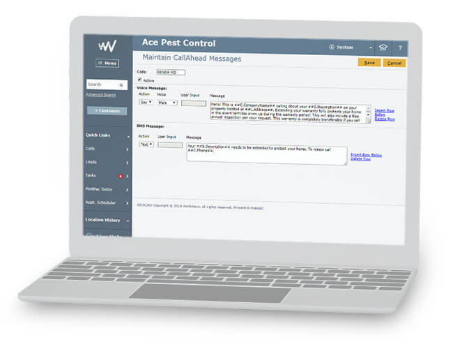 SMS alert template in pest control software