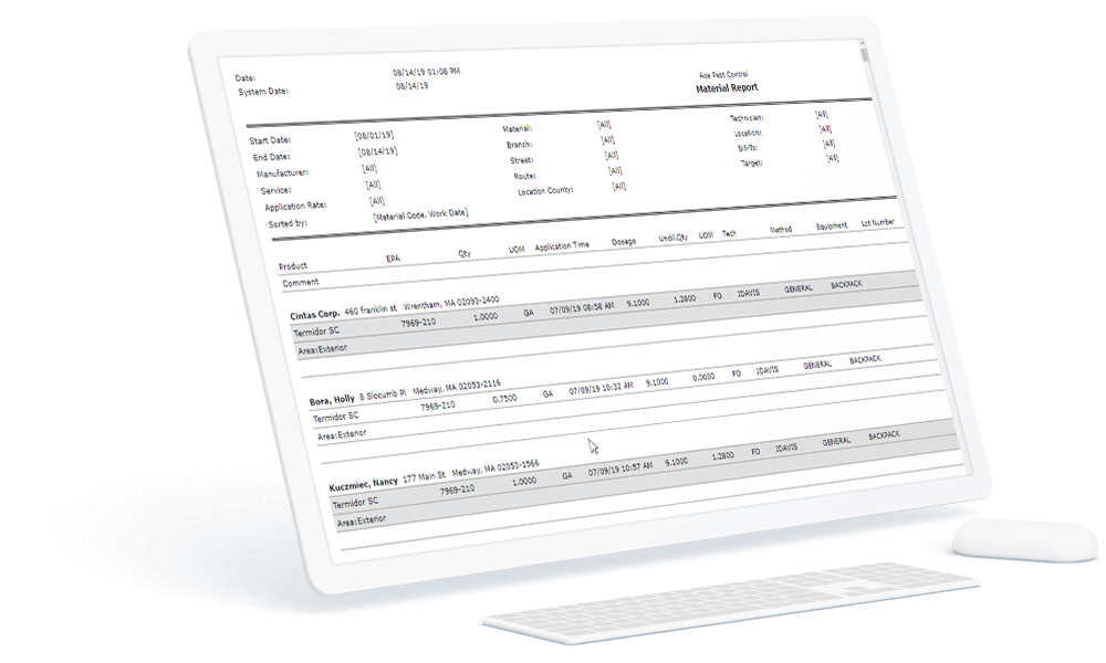 Material tracking reporting